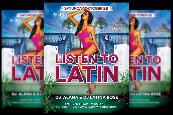 Listen To Latin Party Flyer @creativework247