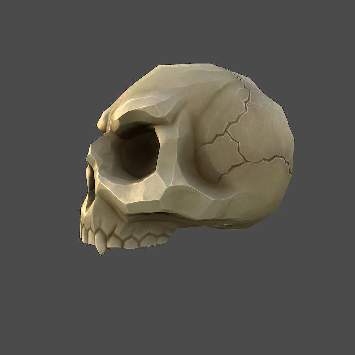 low poly cartoon skull 3d model
