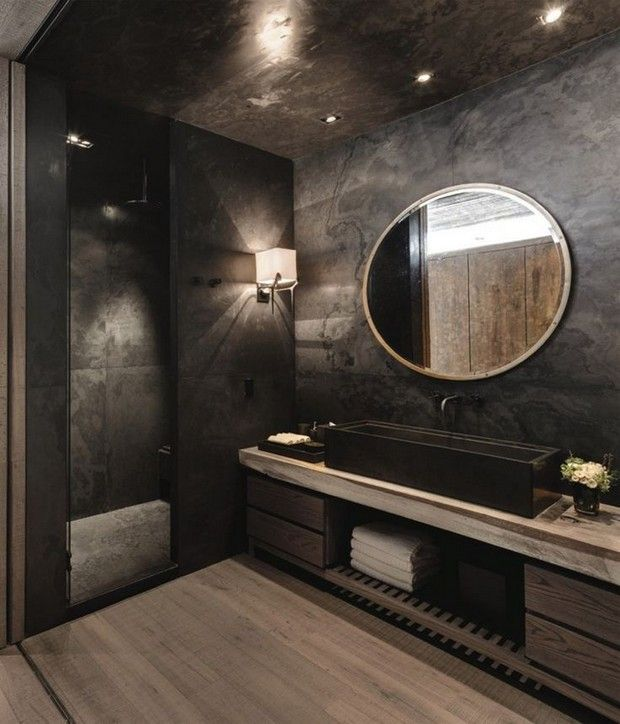bathroom modern interior design black slate tile walls and wooden look tiles