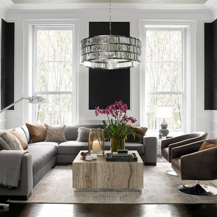 Pottery Barn Adeline Crystal Chandelier 899 Vs Overstock Monroe Round Clear Crystal Chand Transitional Living Room Design Living Room Diy Living Room Designs