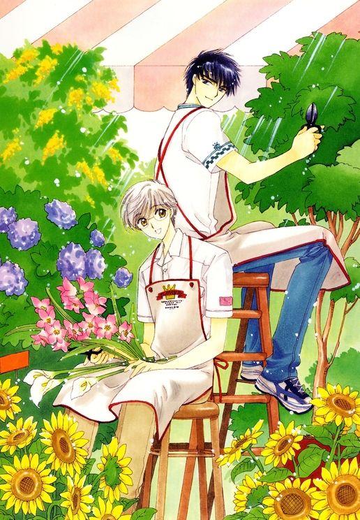 CardCaptor Sakura ~~~ Yukito and Touya working in the garden together.