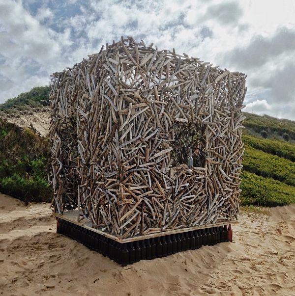 "INSTAGRAM 20 Aug. Elliette Fransman (Pullinglight) (photo). Artwork 'Genius Loci' by Andrea Cristoforetti and Roger Trebilcock ""the driftwood man"". Site_Specific #LandArtBiennale. #LandArt #Plett"