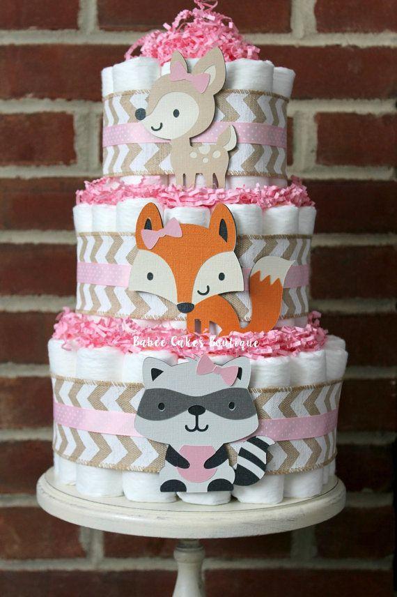 3 Tier Girls Pink Woodland Animal Diaper Cake, Woodland -5181