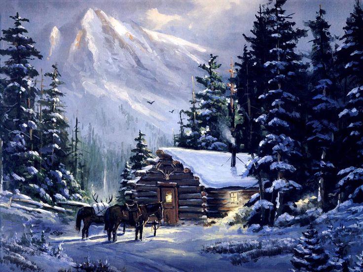 old cabin winter scene wallpaper - photo #1