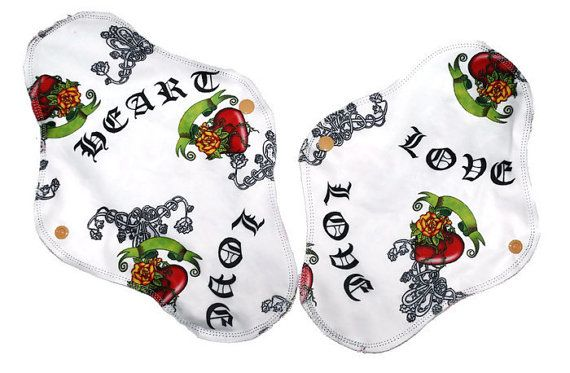 Love Heart tattoo cloth pads, normal and heavy flow, menstrual cloth pads