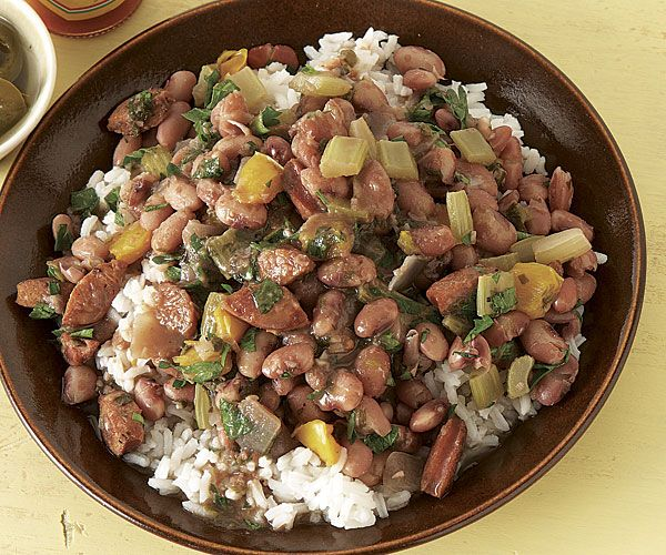 "Anasazi beans and rice  ( Anasazi beans are sometimes called Appaloosa beans and they only have 25% of the ""gas producing"" product of pintos) and can be found in the Latin section of the grocery or specialty store. It's name comes from the Indian tribe)"