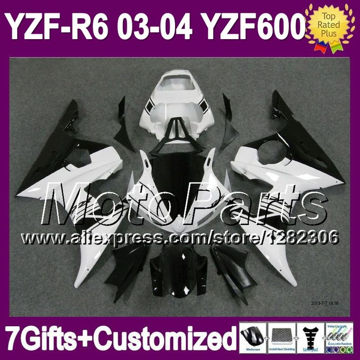 Черный белый 7 подарки + для YAMAHA YZFR6 03 04 YZF-R6 03 - 04 черный белый * 9441 YZF600 YZF R6 YZF R 6 2003 2004 обтекателя Kit