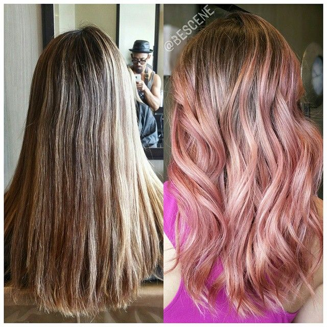 """*TRANSFORMATION* from old brassy highlights to a beautiful warm ROSE GOLD Balayage ombre! I lighten with @Schwarzkopfusa #Blondme Premium Lift and @Olaplex and tone using all #Schwarzkopf Igora & #PEARLESENCE Rose Gold: 9.5-18, 9.5-89 7vol . Styled by my assistant @hairmd_sara"""