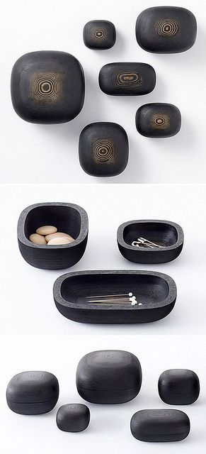 Lacquered paper objects designed by Nendo is a series of small containers created using a 3D printer that cuts, stacks and pastes sheets of paper. The woodgrain texture is achieved by hand lacquering the items after printing. Click on pic for explanation. Pic from http://www.design-vagabond.com/2012/08/lacquered-paper-objects.html