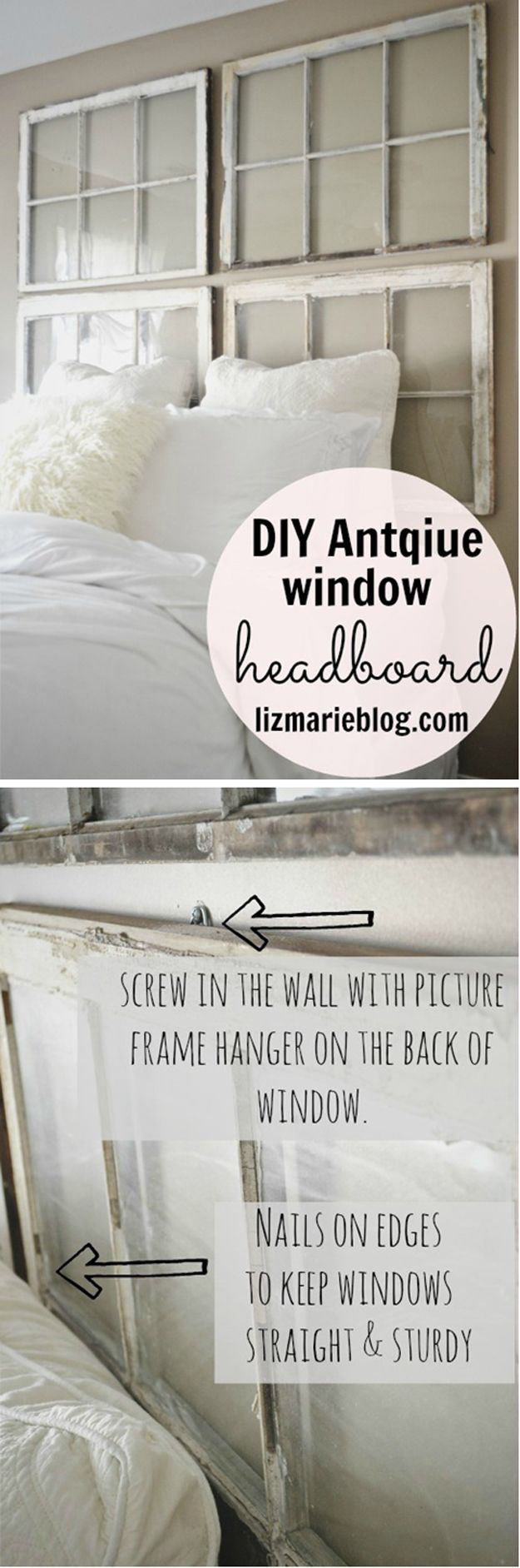 Window Headboard Tutorial | DIY Antique Window Headboard by DIY Ready at http://diyready.com/diy-headboards-for-every-home/