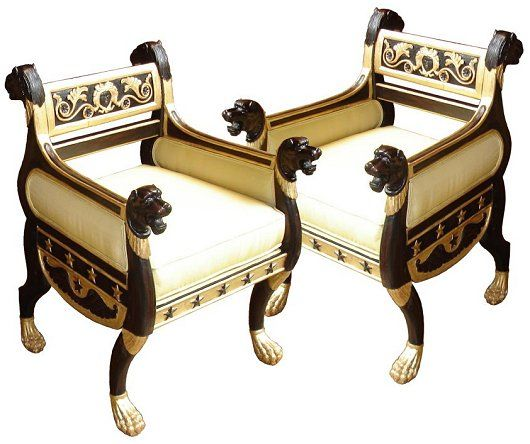 English Antique Chairs : Regency Style Ebonised And Gilt