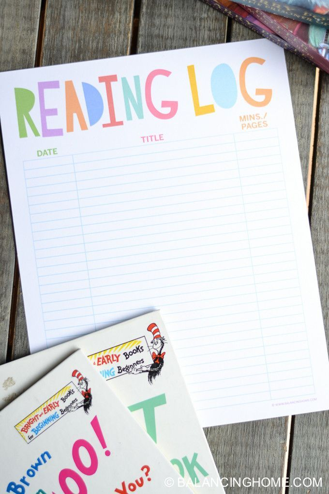 Reading Log Printable -- great idea for summer reading
