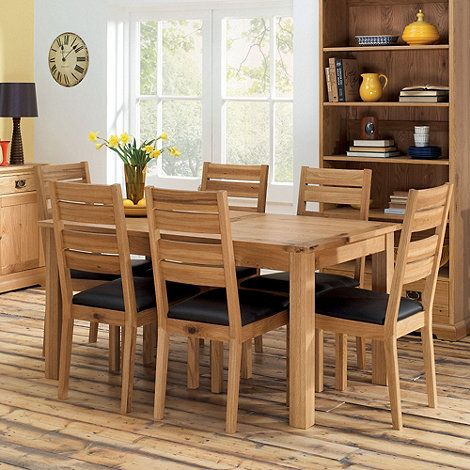Debenhams Oak U0027Provenceu0027 Medium Dining Table With 6 Slat Back Chairs  At  Debenhams