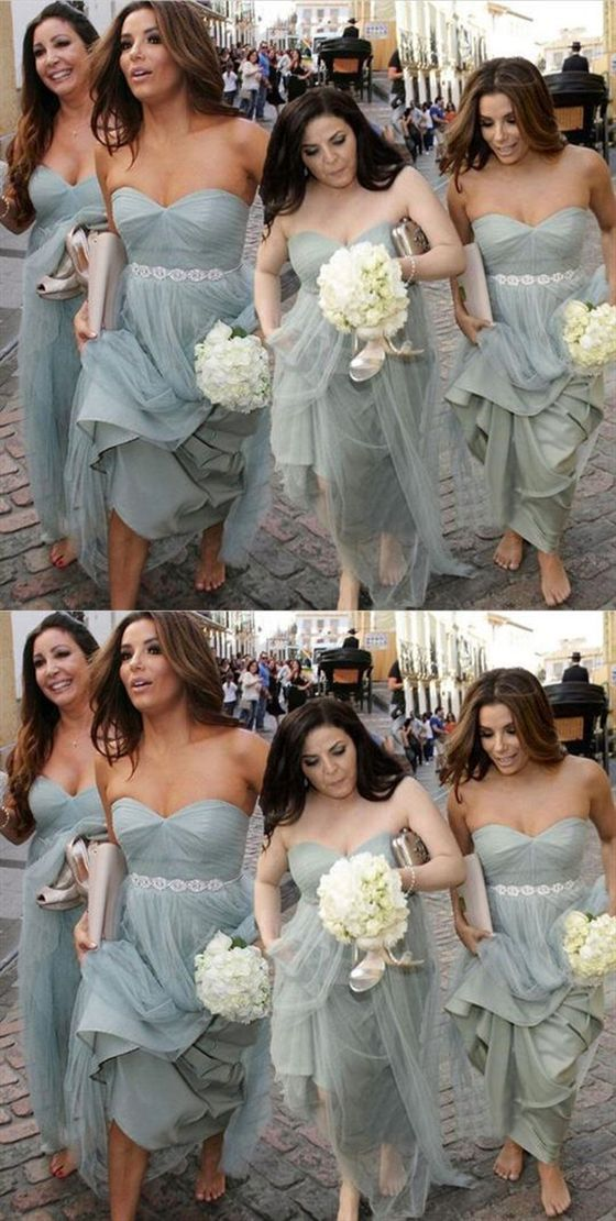 07637f4b714d Sexy Grey Sweetheart Halter Long Tulle Bridesmaid Dresses Prom Dresses #GREY  #bridesmaid #dresses #tulle