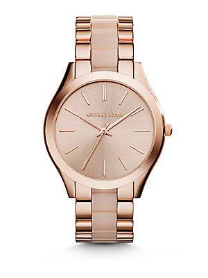 Michael Kors Slim Runway Rose Goldtone Stainless Steel & Acetate Bracelet Watch
