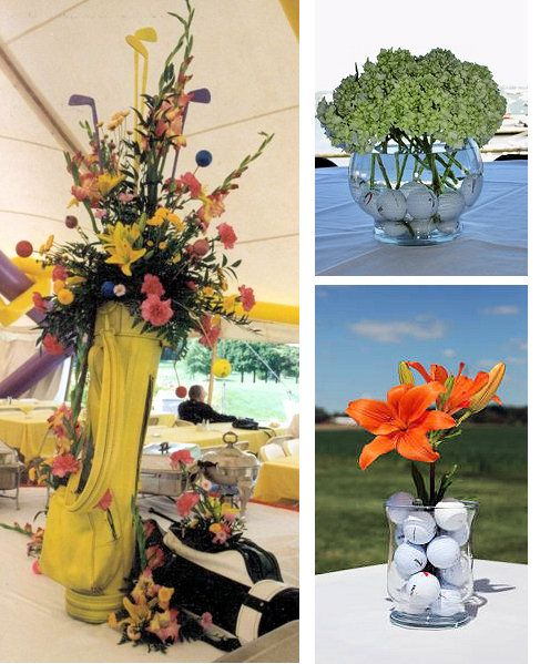 Golf themed wedding favor centerpieces. See more golf wedding favor ideas at one-stop-party-ideas.com