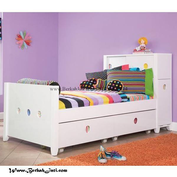 Tempat Tidur Anak Minimalis Sorong Cat Putih Merupakan produk mebel Berkah Jati Jepara dengan desain Minimalis Sorong Cat Putih Duco yang cantik untuk anak