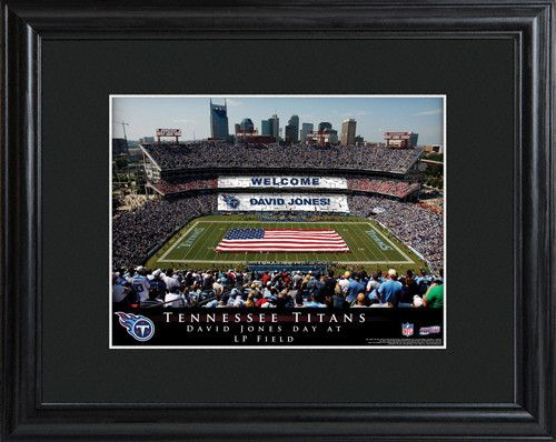 NFL Stadium Print - Titans. Make your favorite football fan feel important on his special day with our personalized NFL Stadium Print. This high-quality photograph is available for all NFL franchises and features the official stadium of his favorite team, packed to the rafters with fans that came just to honor him! Ideal for the die-hard fan, this print is matted and framed in black and includes the name of the team, stadium, and honoree. Makes an ideal groomsmen gift or...
