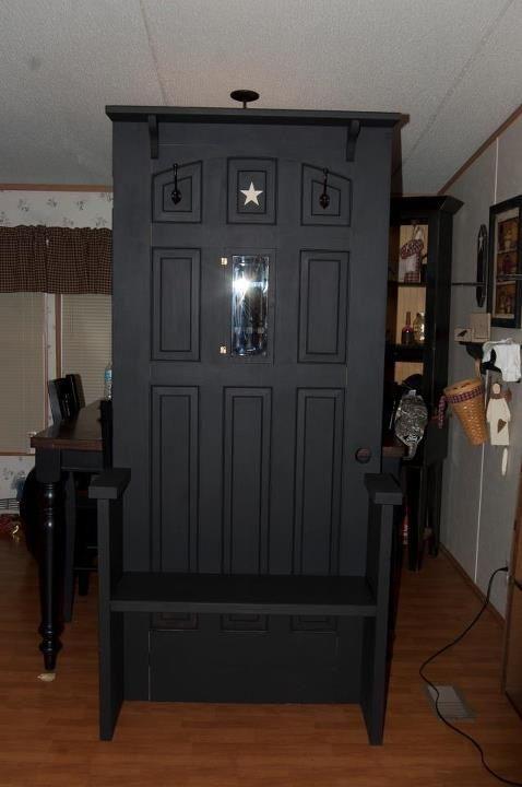 Old door made into primitive hall benchMudroom, Country'S Primitives, Primitive Country, Mud Room