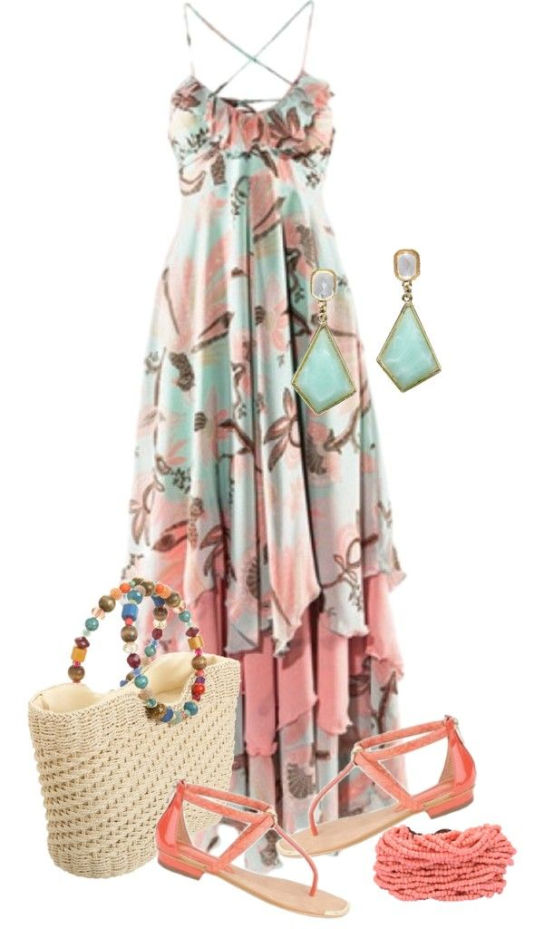 """""""Comfy In A Maxi Dress"""" by sherryvl on Polyvore, not diggin the purse but everything else is adorable"""