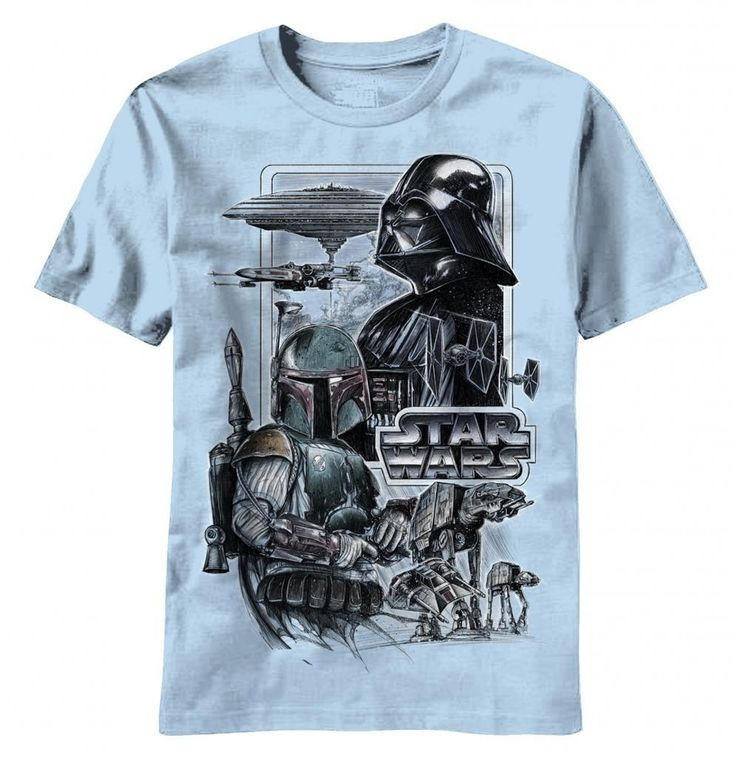 """"""" If your favorite Star Wars movie is The Empire Strikes Back then you'll love this officially-licensed Star Wars Darth Vader Empire Strikes Back shirt.   Featuring an amazing pattern of that features Darth Vader and Boba Fett intertwined with sundry images from The Empire Strikes Back, this Star Wars Empire Strikes Back T-shirt is totally cool, and comfortable and will you the envy of all your fellow Star Wars friends when they see you wearing it around."""""""