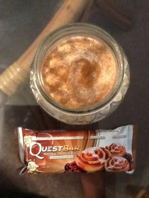 45 Calorie Cinnamon Bun Smoothie!  Low calorie vegan goodness!  Well, not the Quest bar :)