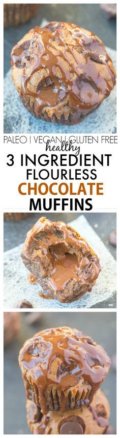 Just THREE ingredients are needed to make these healthy flourless chocolate muffins- No butter, oil, flour and the option to add sugar! Also NO boxed cake mixes! {gluten free, paleo, vegan options}