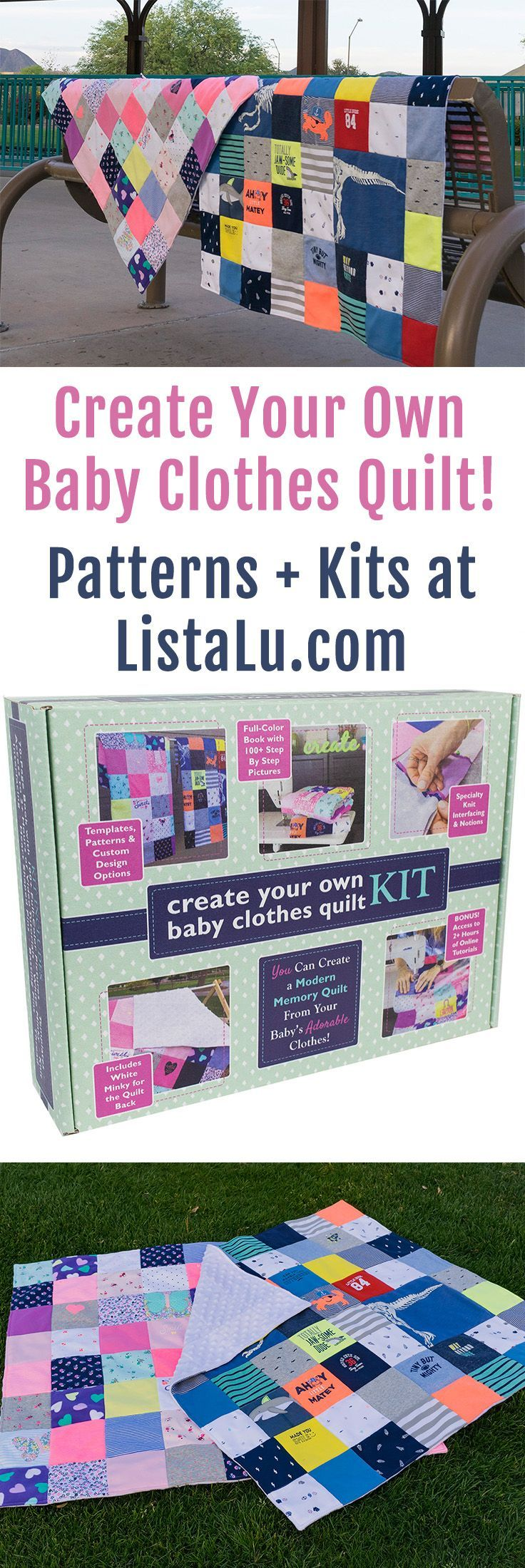 Baby Clothes Quilt Kits to DIY your own onesie baby & toddler blanket! www.listalu.com
