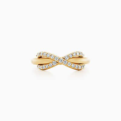Tiffany Infinity ring in 18k gold with diamonds.