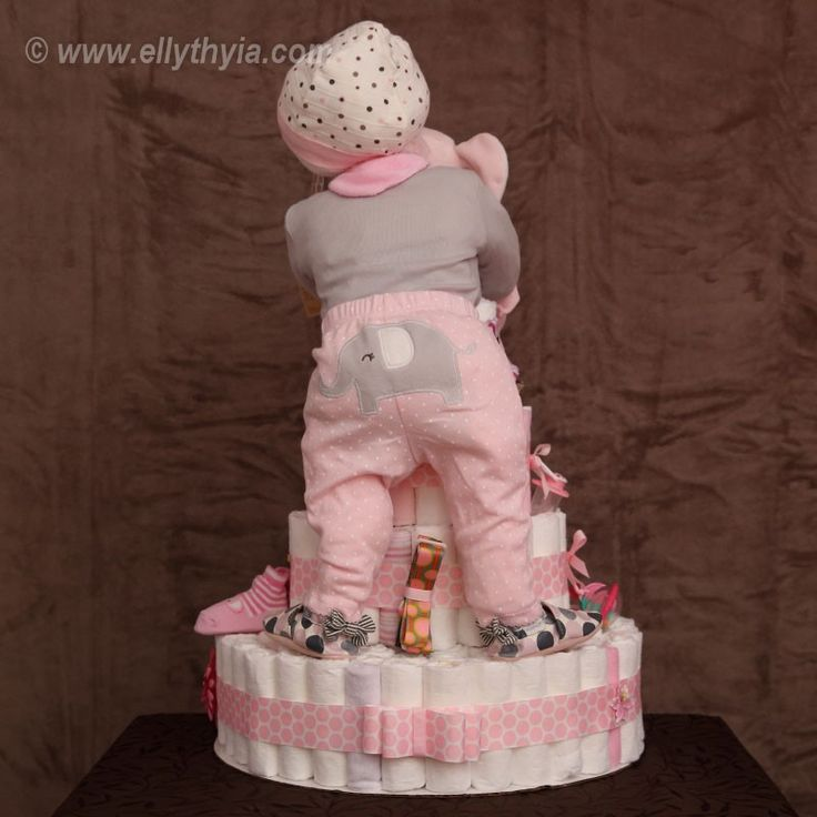 Pink Elephant and Baby Girl Diaper Cake - Toronto Diaper Cakes and Baby Gifts