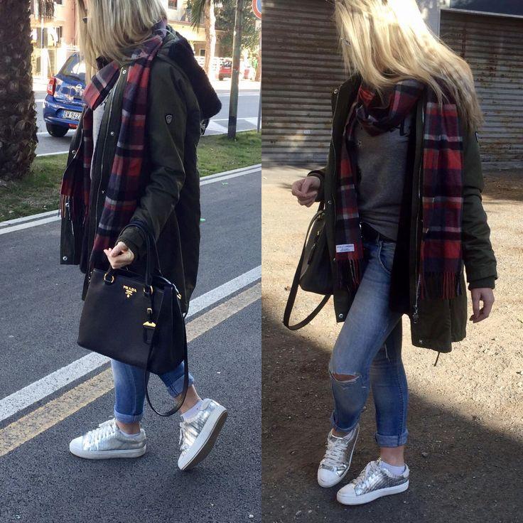 Parka woman outfit - Prada shopper - Pinko Shoes