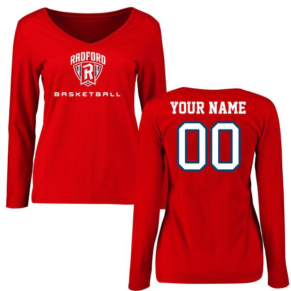 Radford Highlanders Women's Personalized Basketball Slim Fit Long Sleeve T-Shirt - Red - $42.99