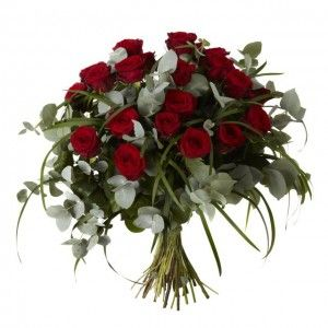 Two Dozen Red Roses - Two dozen beautiful red naomi roses and eucalyptus.