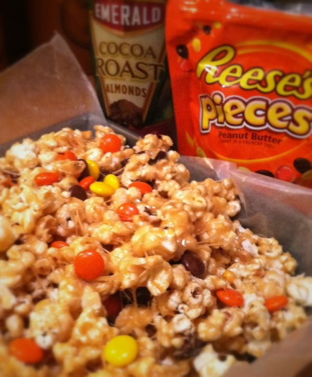 reeses pieces snack mix----love Reeses Pieces!!!