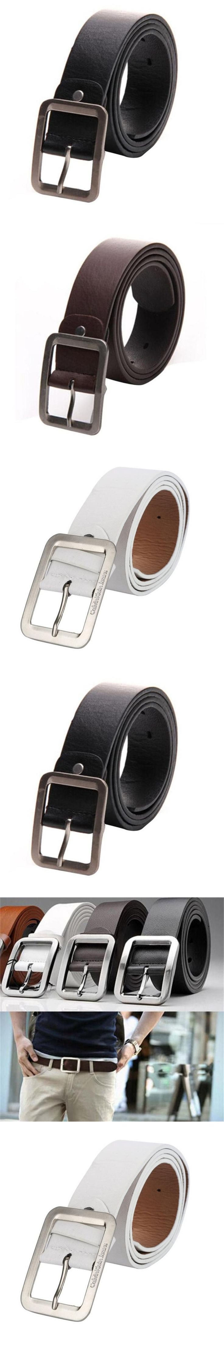 2017 New Style Men's Casual Faux Leather Belt Buckle Waist Strap Belts leather belts for men high quality ceinture homme riem
