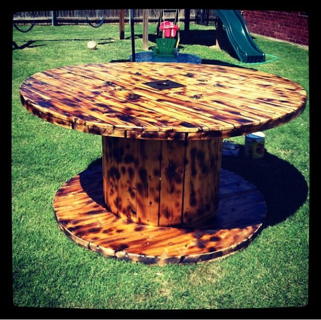 Wood reel table perfect for back patio and or backyard for Large wooden spools used for tables