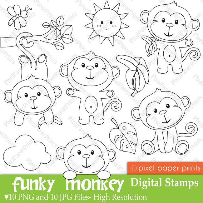 Funky Monkey  Digital Stamps by pixelpaperprints on Etsy