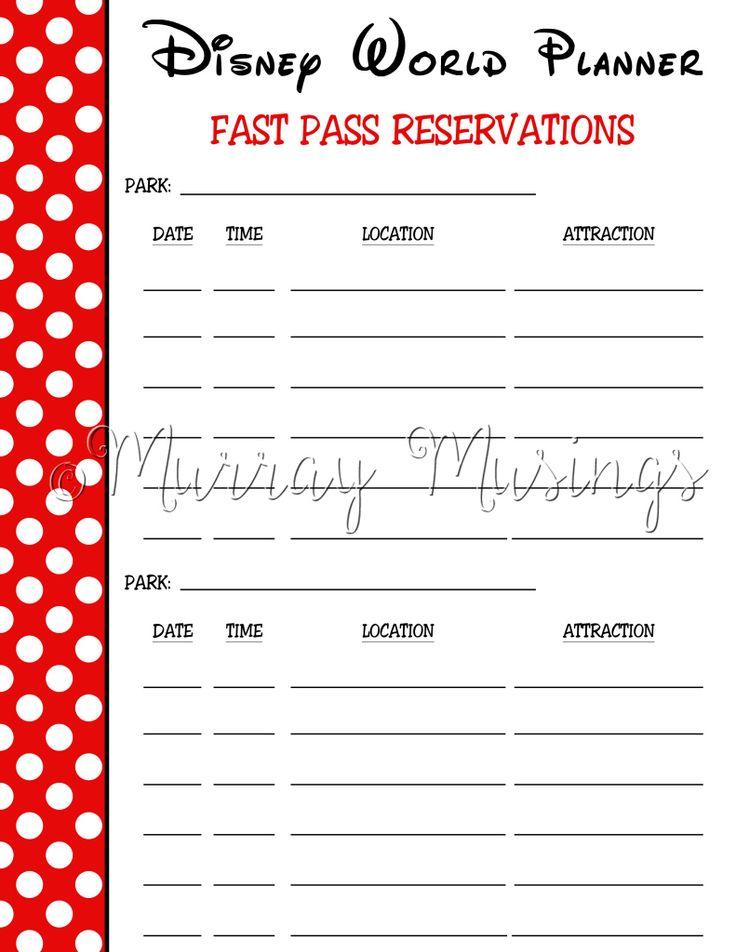 Disney World Fast Pass Planning Sheet Travel Packing