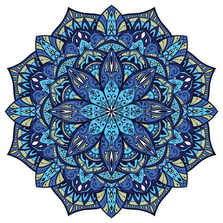 Vector mandala fleuri avec des d tails complexes Vitrail en bleu Oriental l ment de d cor Banque d'images