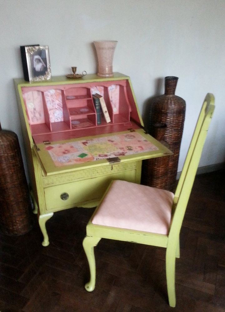 ✿ Vintage Shabby Chic Hand Painted Writing Bureau Laptop Desk/FREE Chair ✿