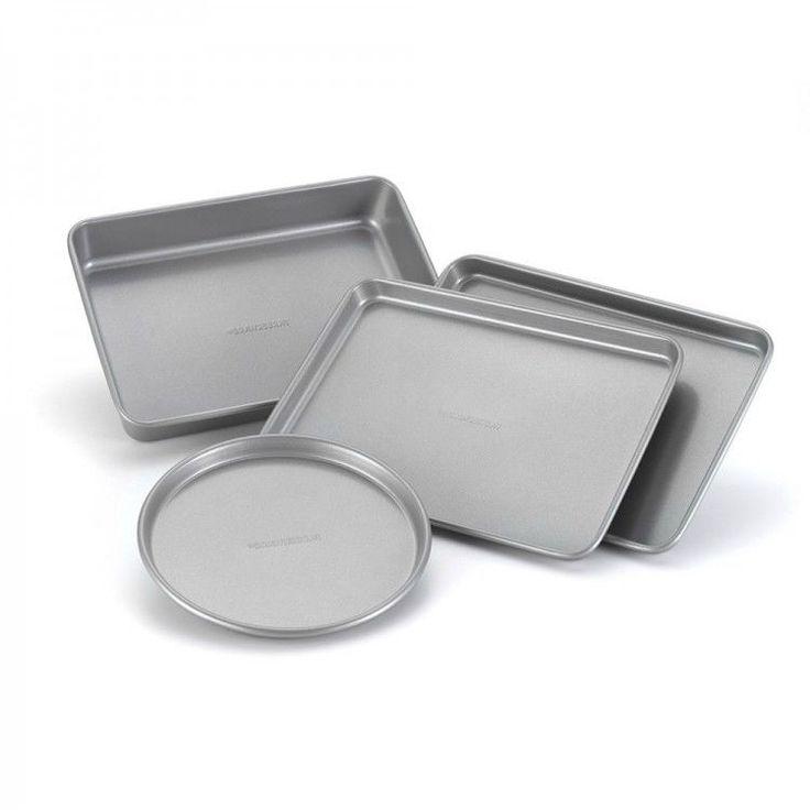 Kitchen Nonstick Bakeware Set Baking Cookie Pizza Oven Pans Steel Cookware 5 Pc #KitchenNonstickBakewareSet