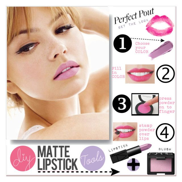 """DIY Matte Lipstick"" by mkanzee ❤ liked on Polyvore featuring beauty, Olia, NARS Cosmetics, Topshop, DIY, mattelipstick and perfectpout"