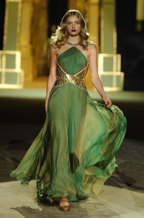 Green wedding dress with gold belt | Empyrean | Pinterest ...