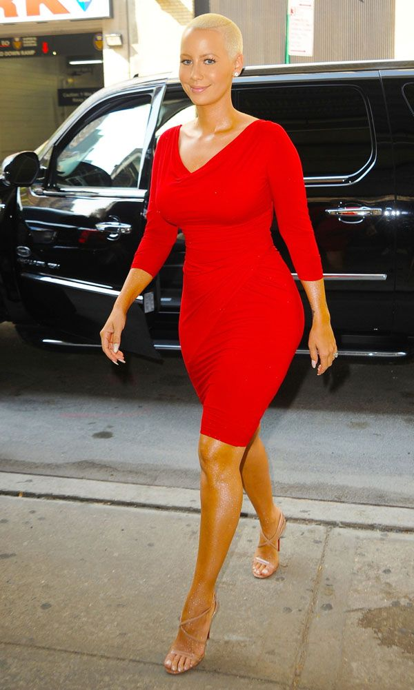 Amber Rose arrives to make an appearance on The Wendy Williams Show in New York City