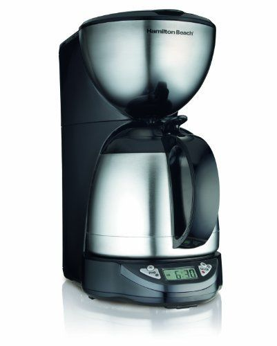Hamilton Beach Programmable Thermal 10 Cup Coffeemaker by Hamilton Beach. $49.98. Uses 8-12 cup basket style coffee filtersNo-twist lid for instant serving - just press & pourThermal insulated carafe keeps coffee hot and fresh-tasting for hoursProgrammable timer lets you wake up to freshly brewed coffeeDrip-free pouringPause & serveAutomatic shutoffLarge clock displayMakes iced coffee too