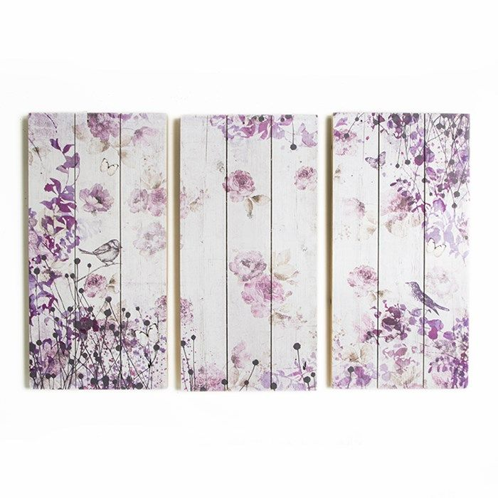 Set/3 Birds And Butterflies Print On Wood Wall-art Wall-art by Graham and Brown