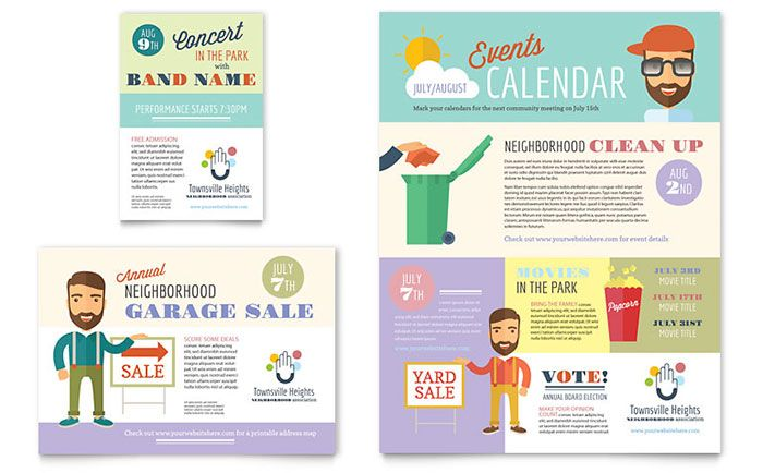 Flyer and ad ideas for a neighborhood association by StockLayouts.