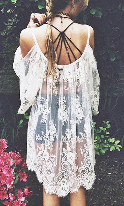 Cute see thru dress bohemian styled