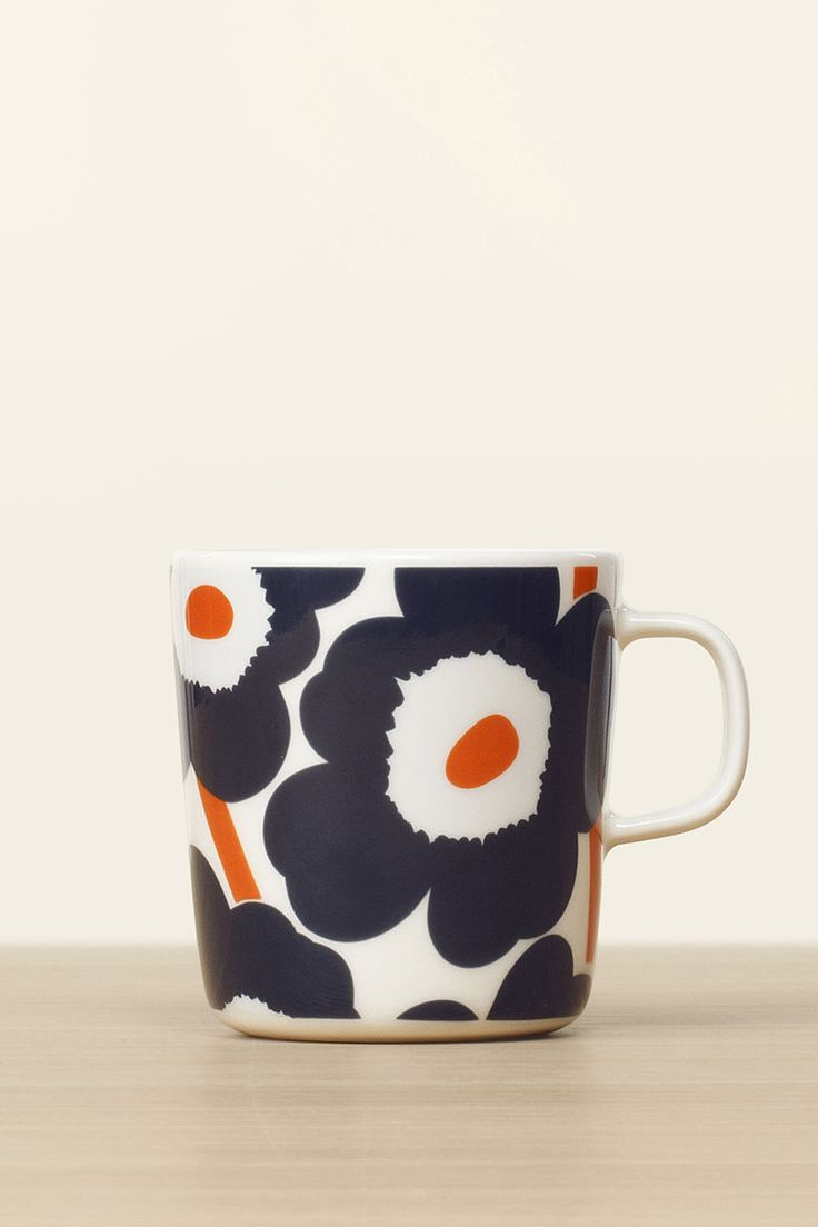 Collection: Fall 2016 Home. Print: Maija Isola (1964) & Kristina Isola. Material: 100% vitreous porcelain. Description: Large 4 deciliter (13.53 oz) mug with handle in the iconic Unikko poppy flower p