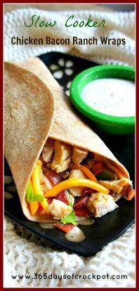 365 giorni di lenta cottura: Ricetta per Slow Cooker (pentola di coccio) Pollo Pancetta Ranch Wraps